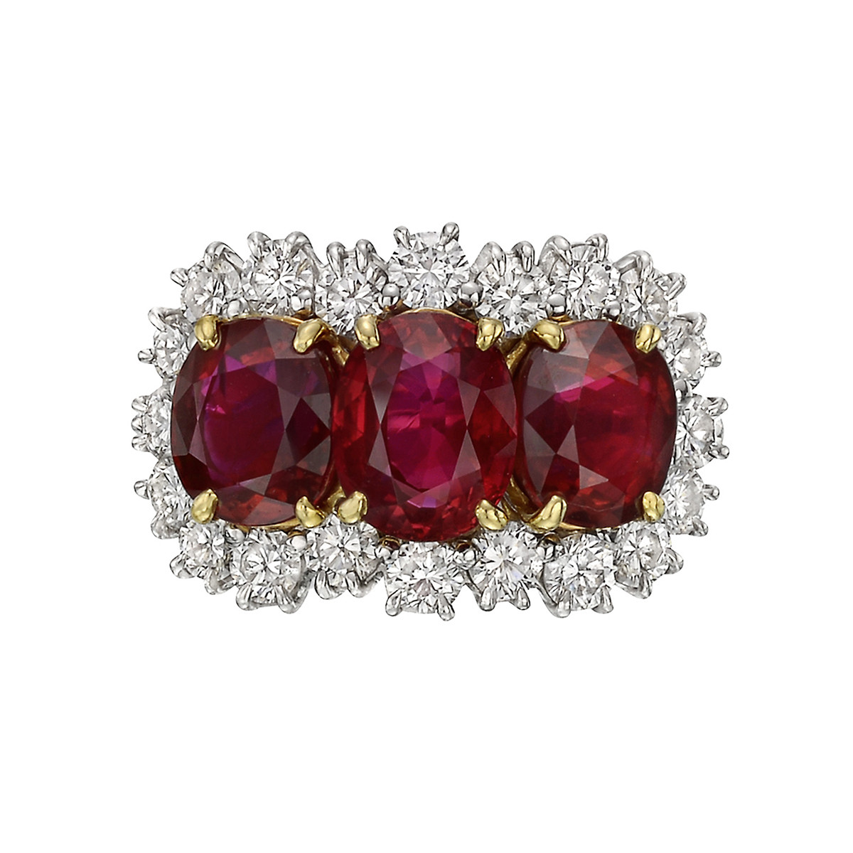 Oval-Shaped Ruby Three-Stone Ring