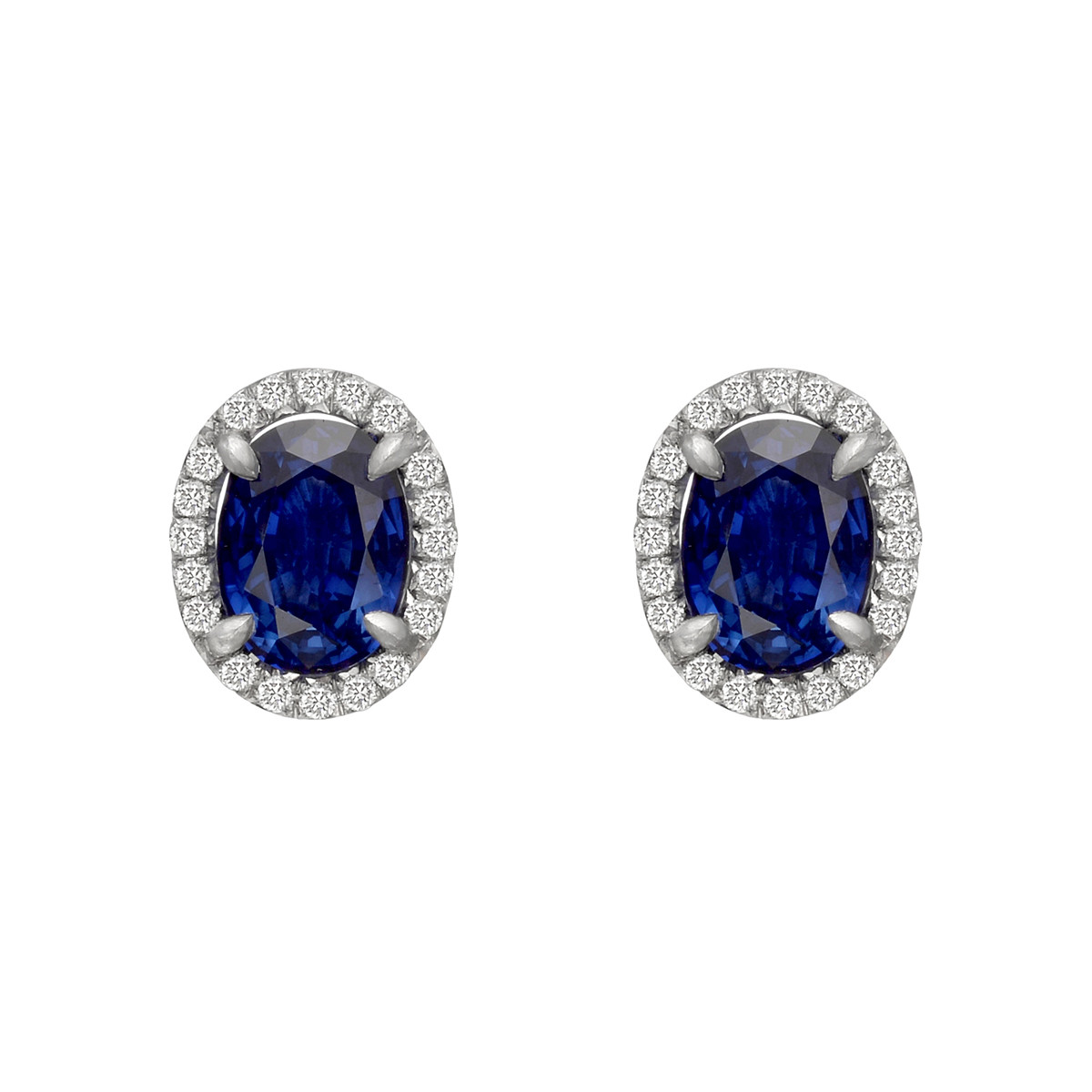 Oval Sapphire & Diamond Halo Stud Earrings