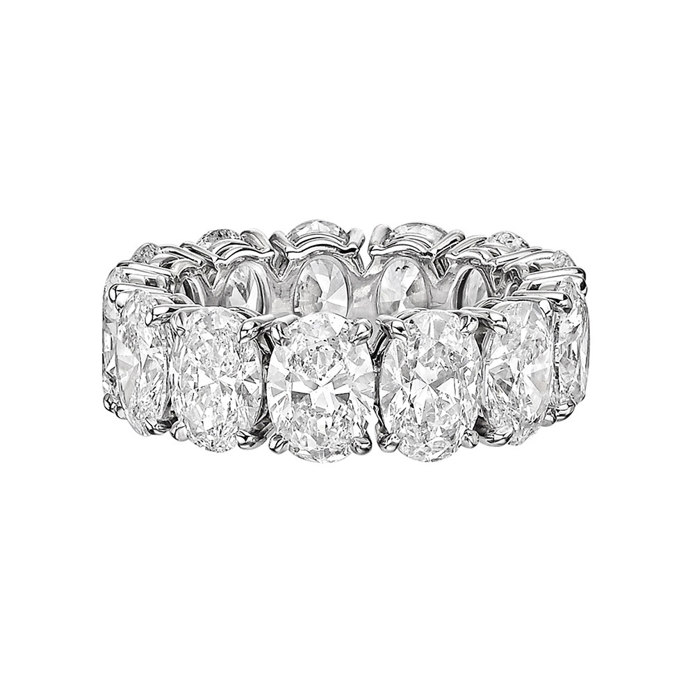 28c24427a40e2b Diamond eternity band ring, showcasing fine colorless oval brilliant-cut  diamonds prong-set in platinum. Thirteen diamonds weighing 9.26 total  carats (D ...