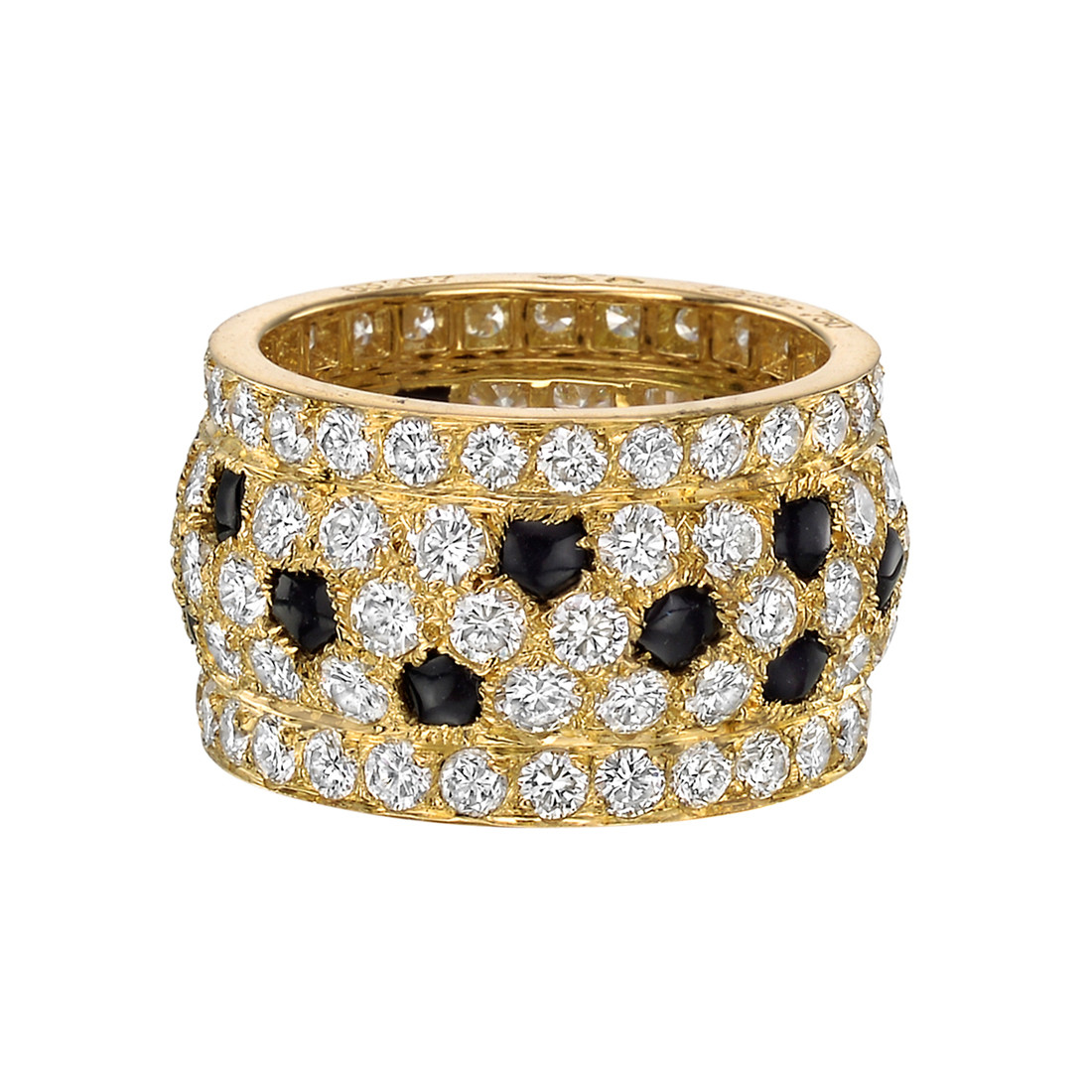 Diamond & Black Onyx Wide Band Ring