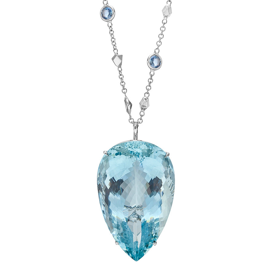 "Large Aquamarine Pendant on Gem-Set ""Brillante"" Chain"
