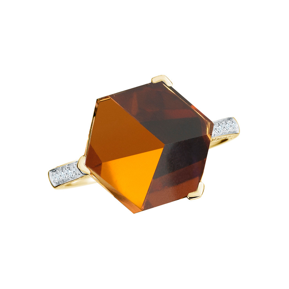 "Medium Citrine & Diamond ""Brillante Valentina"" Ring"