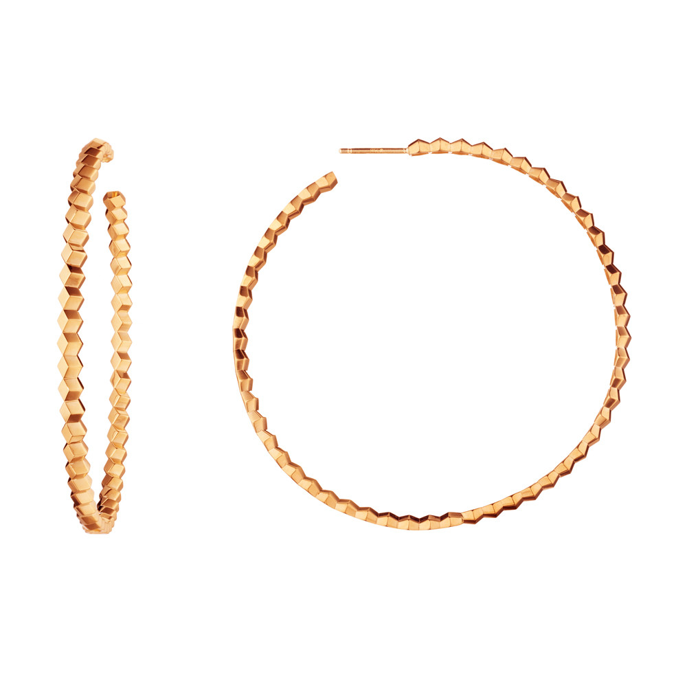 "Large 18k Rose Gold ""Brillante"" Hoop Earrings"