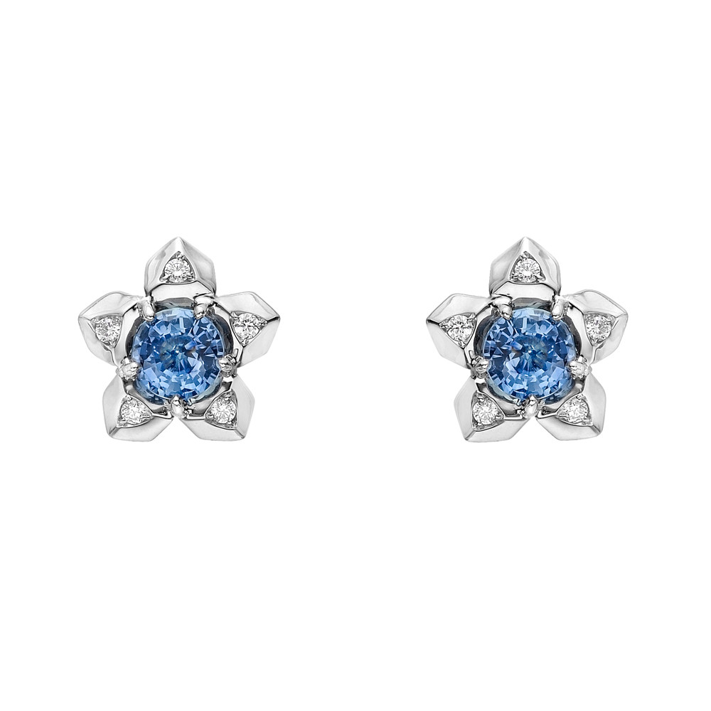 "Sapphire & Diamond ""Brillante"" Stud Earrings"