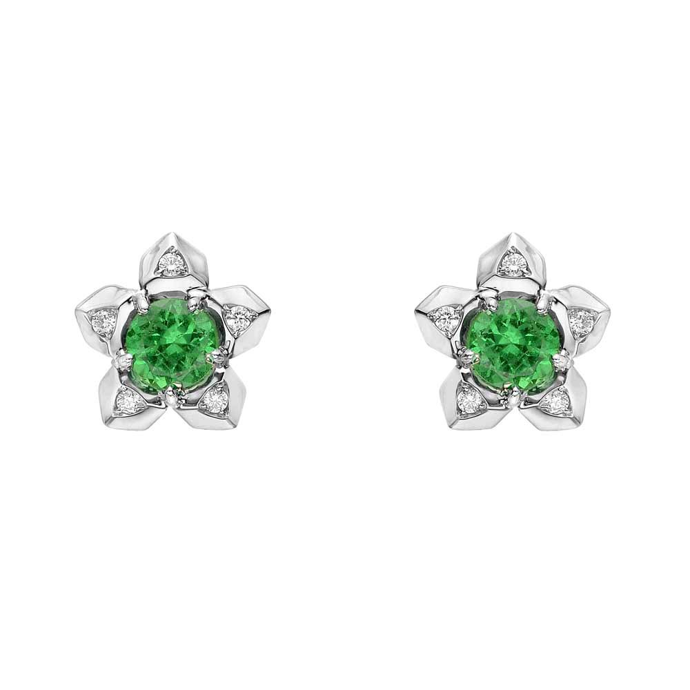 "Tsavorite & Diamond ""Brillante"" Stud Earrings"