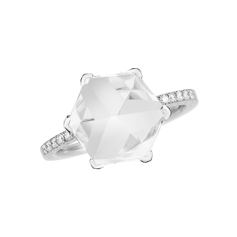 "Small White Topaz & Diamond ""Brilliante Valentina"" Ring"