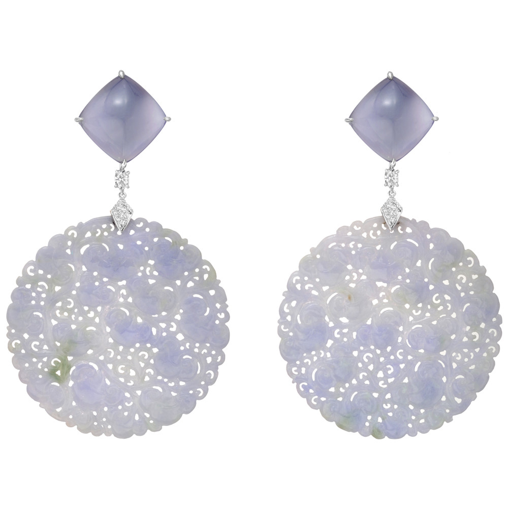 Large Carved Lavender Jade Earring Pendants With Pavé Diamond Caps In 18k White Gold Weighing 117 42 Total Carats And Diamonds 0 23