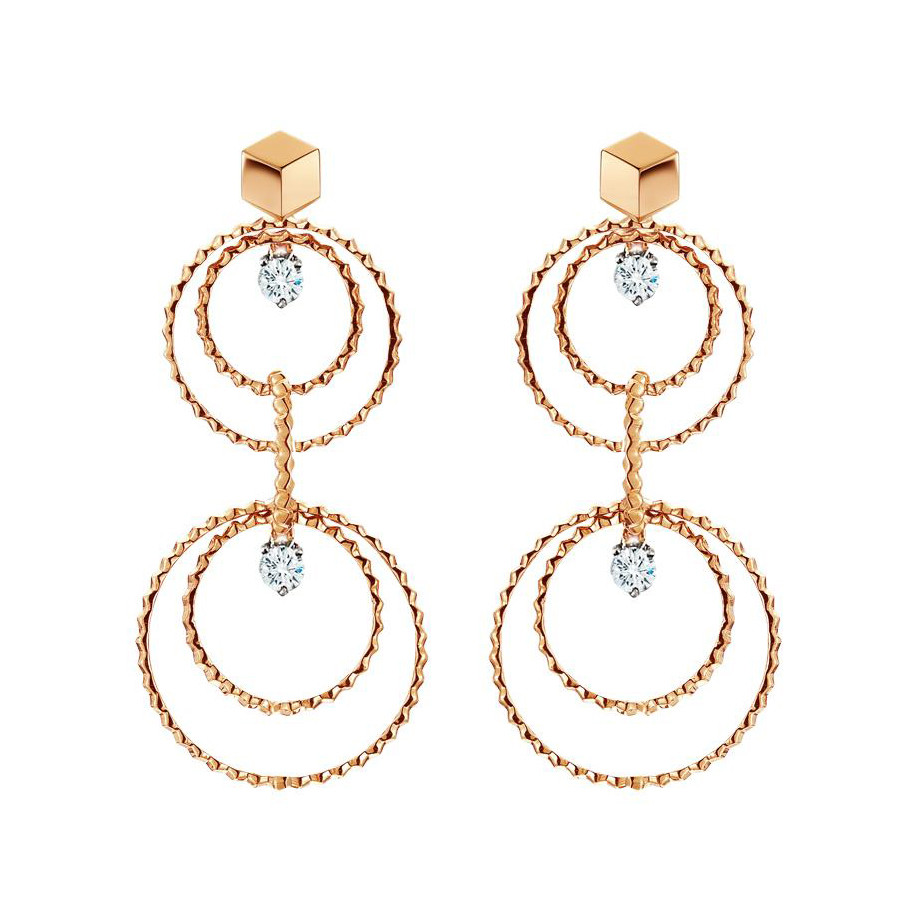 "18k Rose Gold & Diamond ""Brillante Circoli"" Drop Earrings"