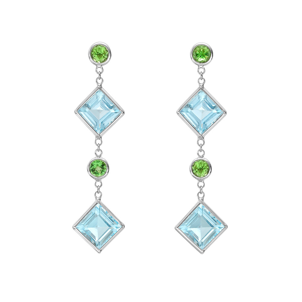 """Florentine"" Blue Topaz & Tsavorite Drop Earrings"