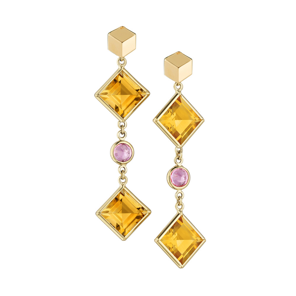 "Citrine & Pink Sapphire ""Florentine"" Drop Earrings"