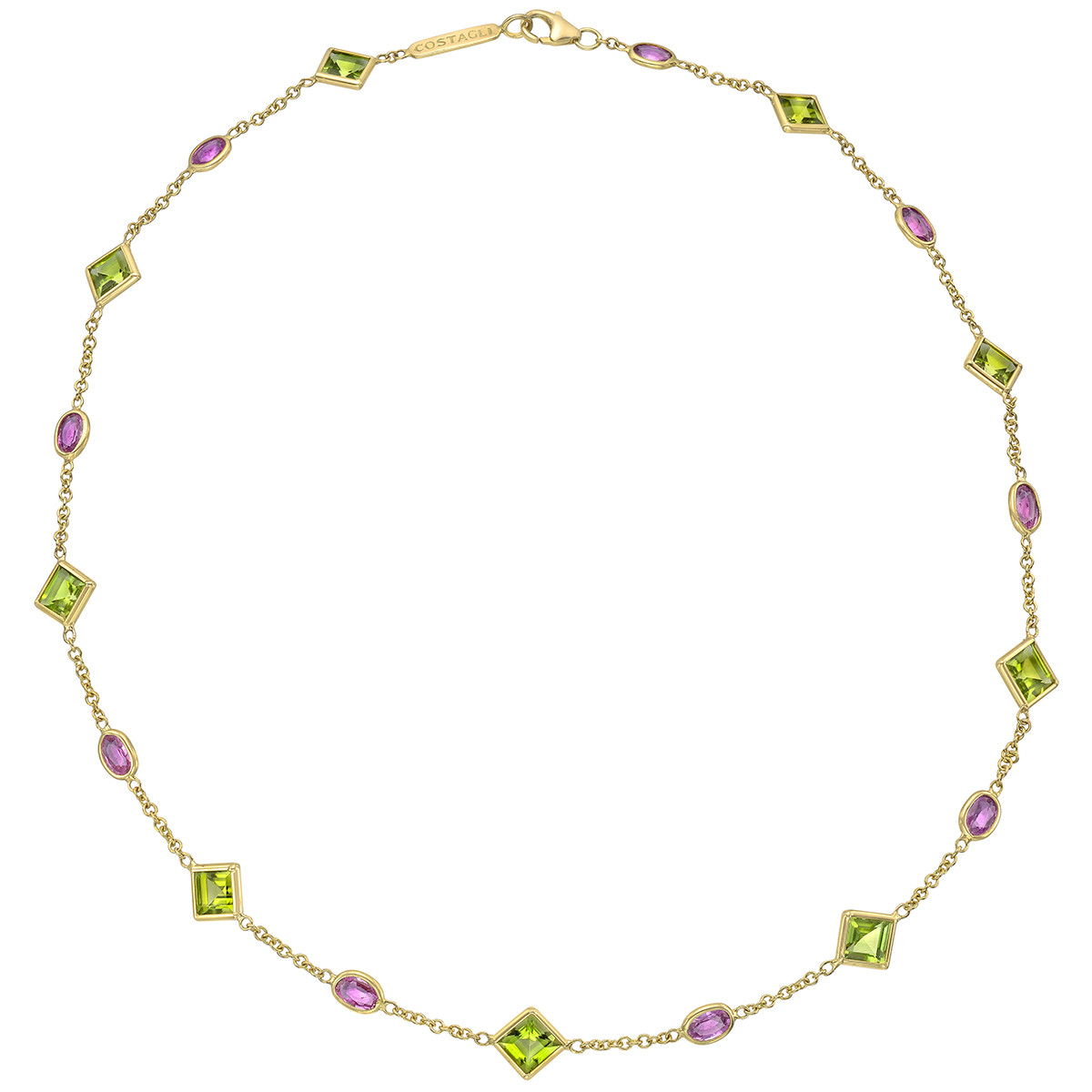 "Peridot & Pink Sapphire ""Florentine"" Necklace"