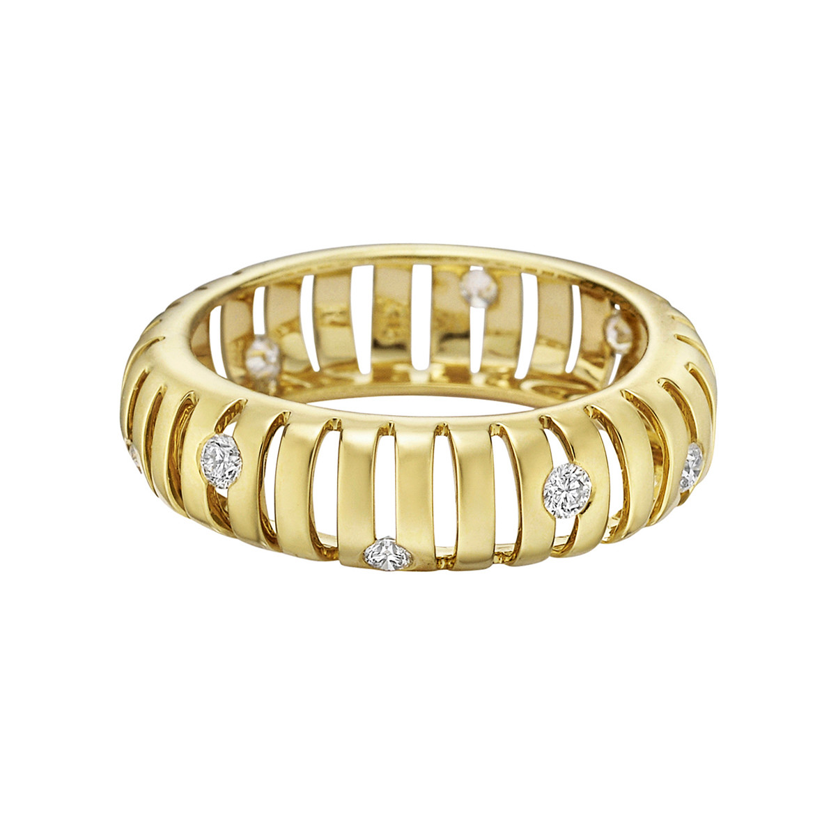 "18k Yellow Gold & Diamond ""Flutti"" Band Ring"