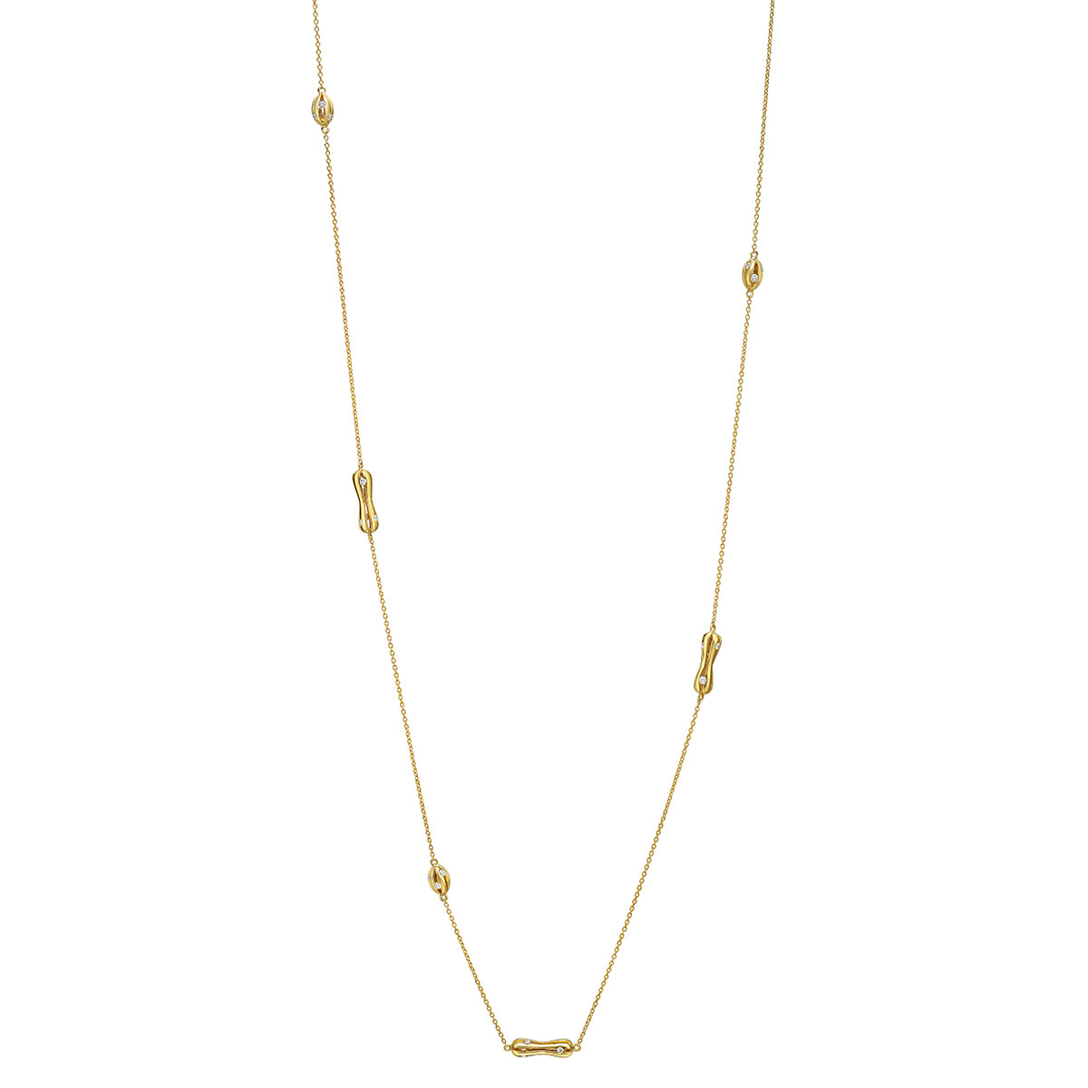 "18k Yellow Gold & Diamond ""Flutti"" Long Necklace"