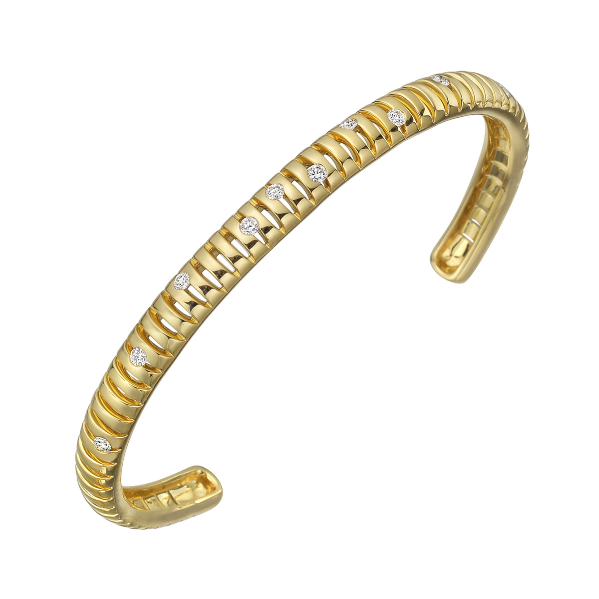 "Thin 18k Yellow Gold & Diamond ""Flutti"" Cuff Bracelet"
