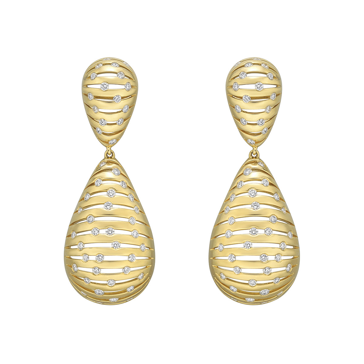 "18k Yellow Gold & Diamond ""Flutti"" Pendant Earrings"