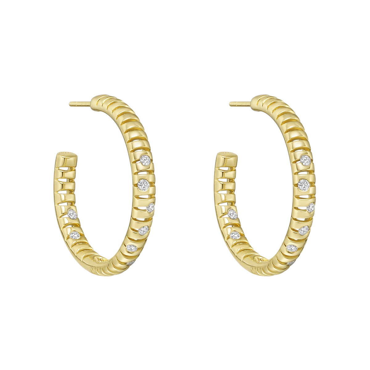 "Large 18k Yellow Gold & Diamond ""Flutti"" Hoop Earrings"
