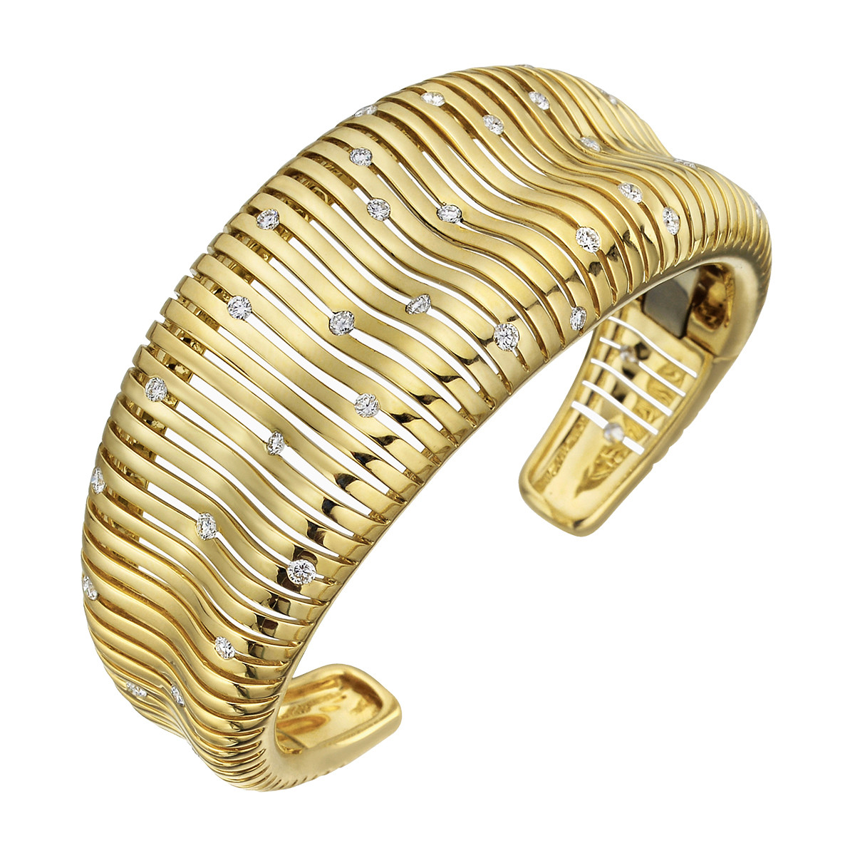 "Wide 18k Yellow Gold & Diamond ""Flutti"" Cuff Bracelet"
