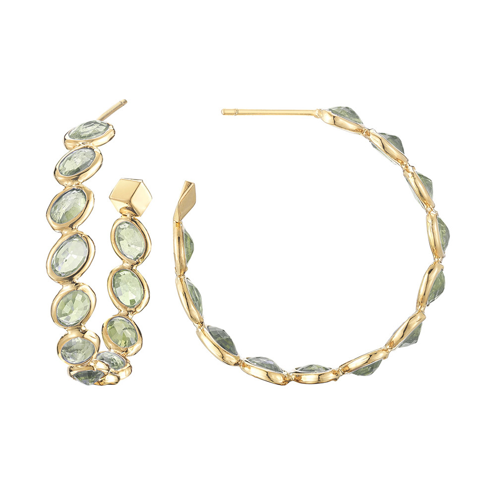 "Medium Green Sapphire ""Ombre"" Hoop Earrings"