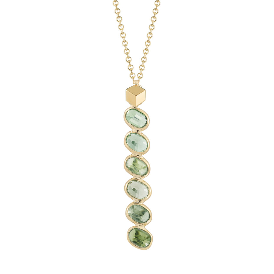 "Green Sapphire ""Ombre"" Pendant Necklace"