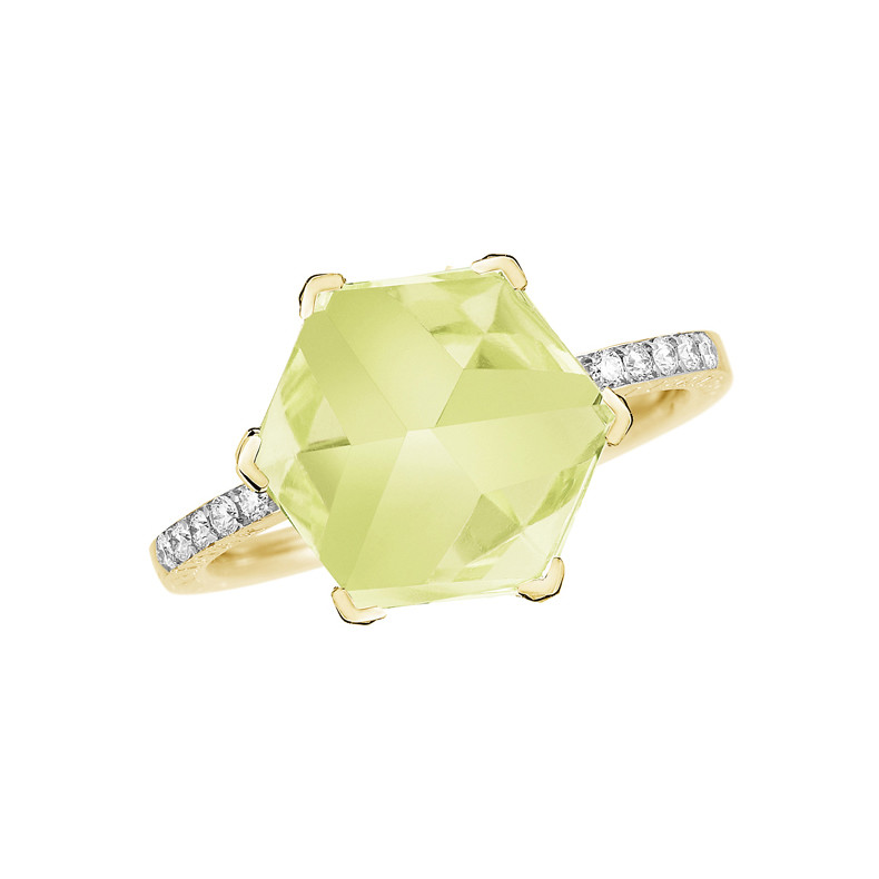 "Small Lemon Citrine & Diamond ""Brillante Valentina"" Ring"