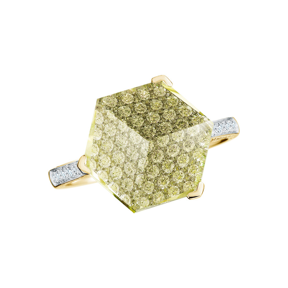 "Medium Lemon Citrine & Diamond ""Brillante Valentina"" Ring"