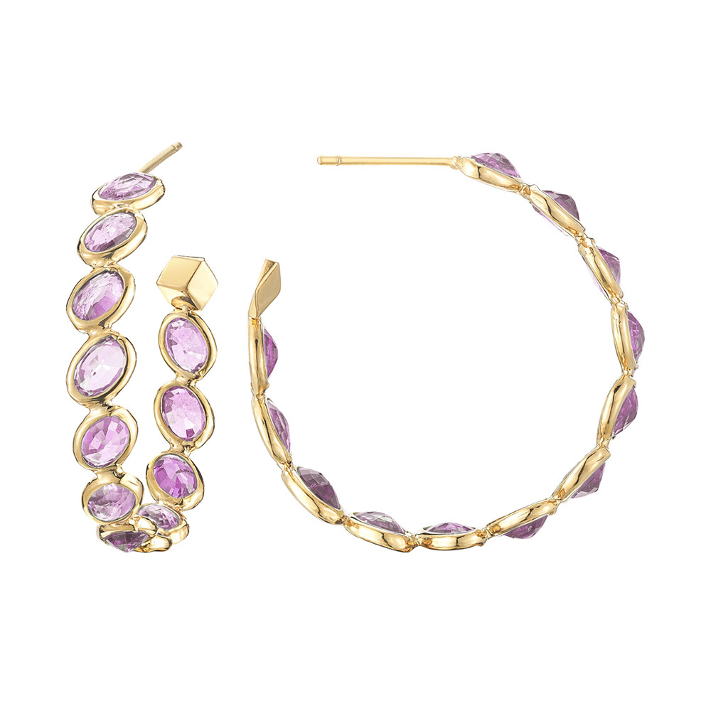 "Medium Pink Sapphire ""Ombre"" Hoop Earrings"
