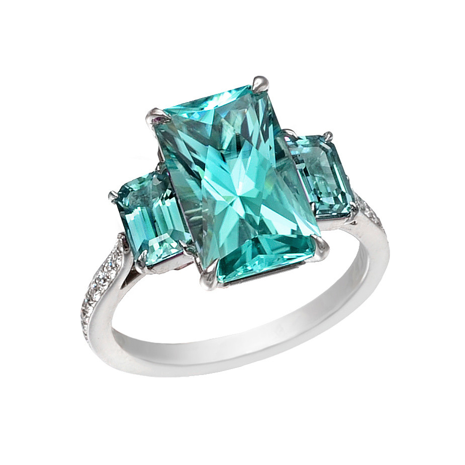 Mint Tourmaline Three-Stone Ring