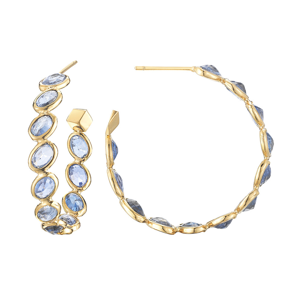 "Medium Blue Sapphire ""Ombre"" Hoop Earrings"