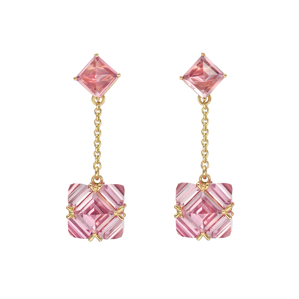 Pink Tourmaline Chain Drop Earrings