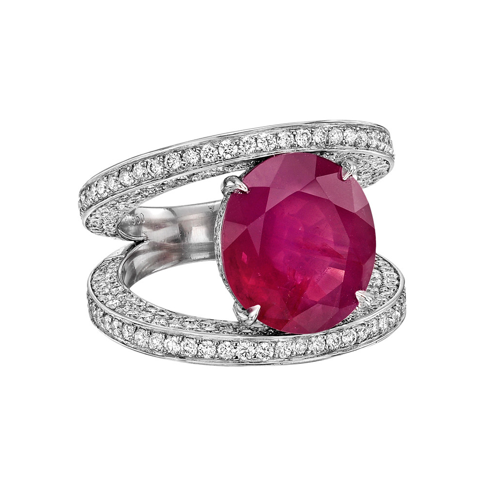 6.10 Carat Burmese Ruby Split Shank Ring