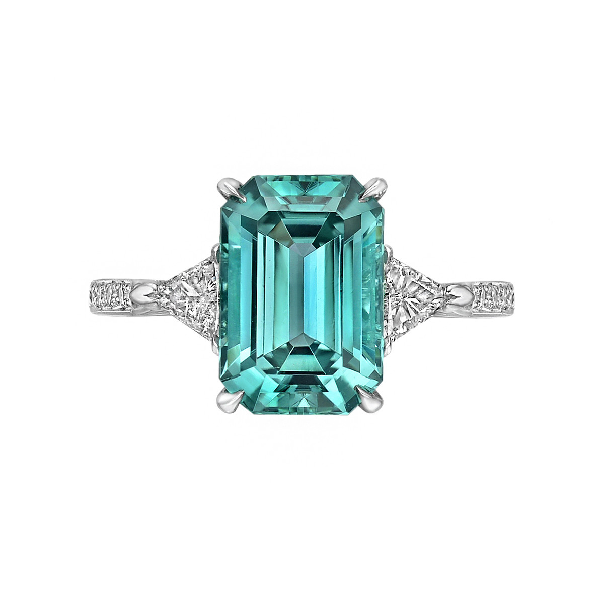 3.48 Carat Green-Blue Tourmaline & Diamond Ring