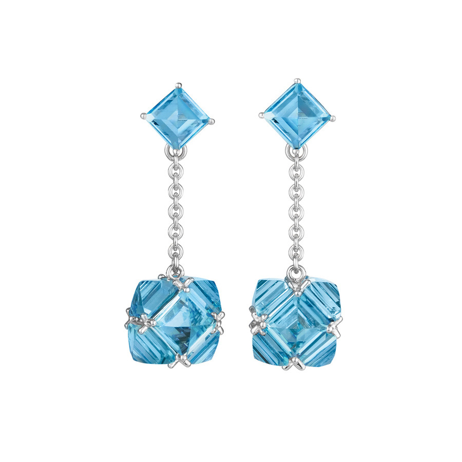 Blue Topaz Chain Drop Earrings