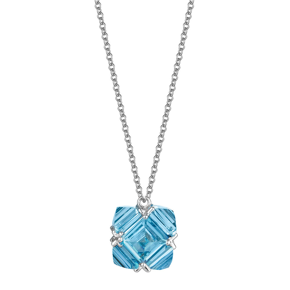 18k White Gold & Blue Topaz Pendant