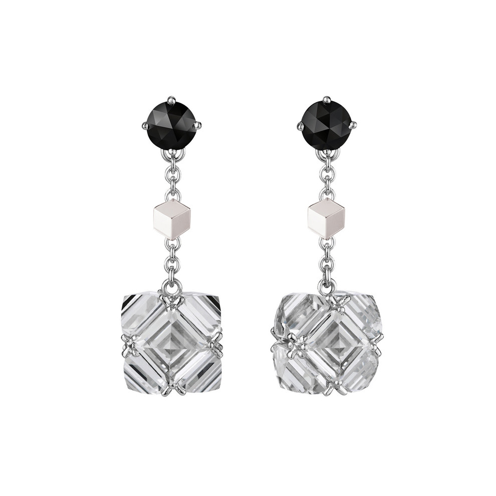 White Topaz & Black Diamond Drop Earrings