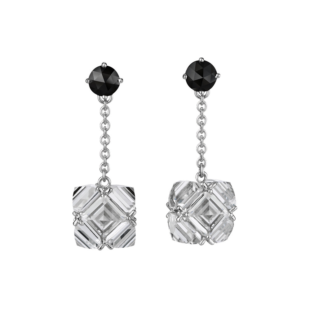 White Topaz & Black Diamond Chain Drop Earrings