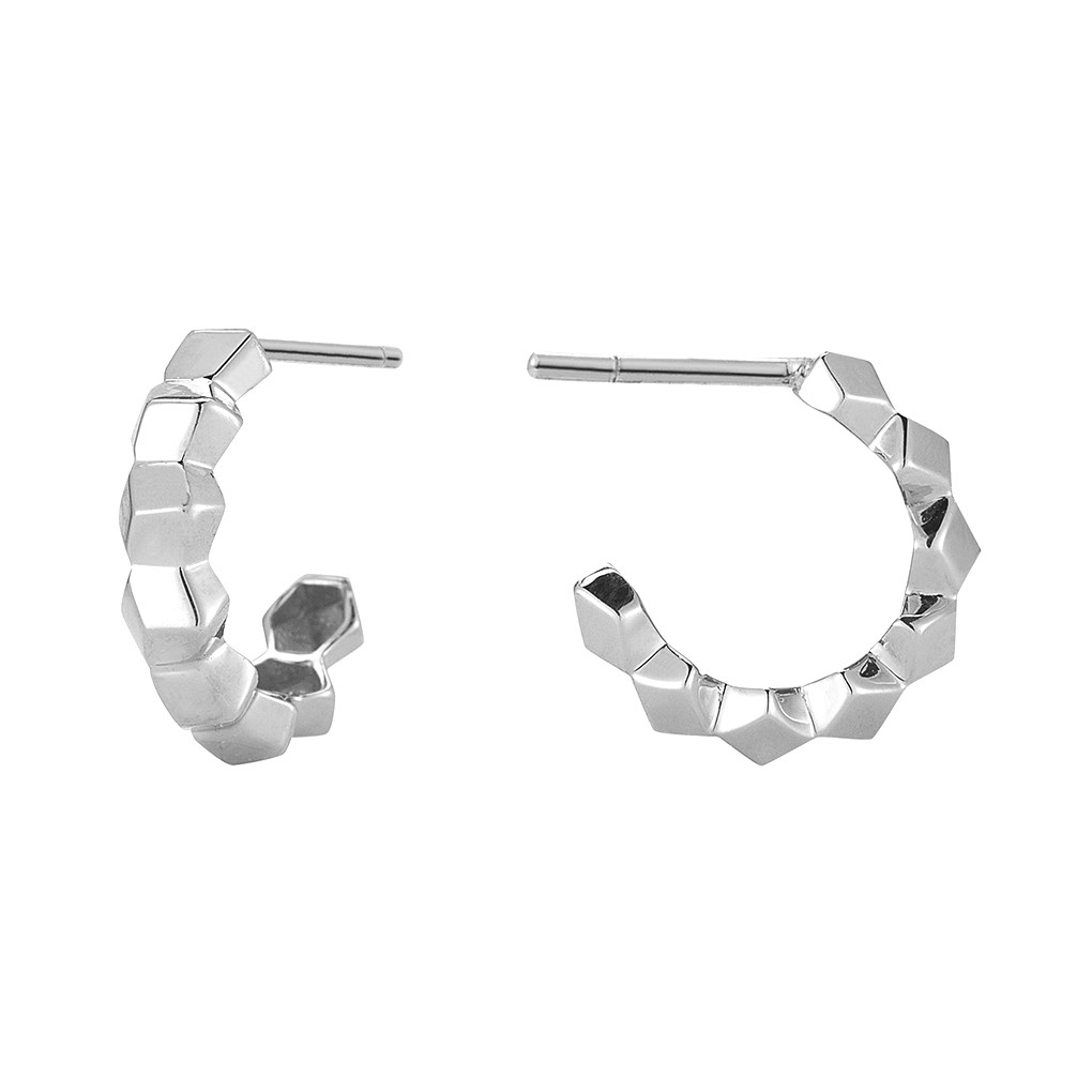 "Mini 18k White Gold ""Brillante"" Hoop Earrings"