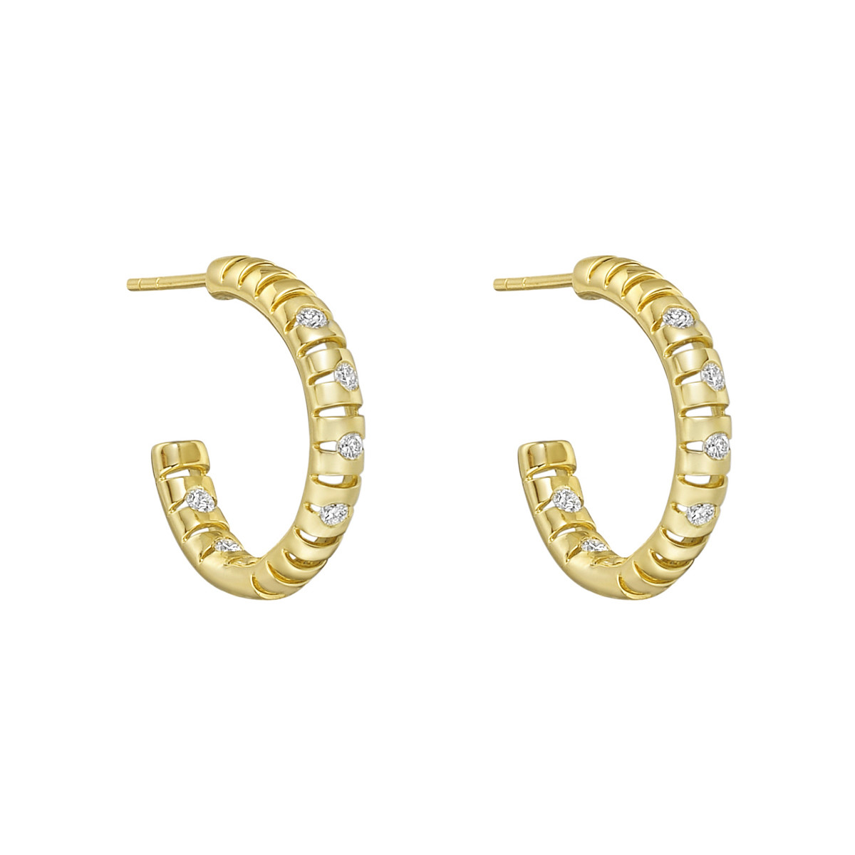 "18k Yellow Gold & Diamond ""Flutti"" Hoop Earrings"