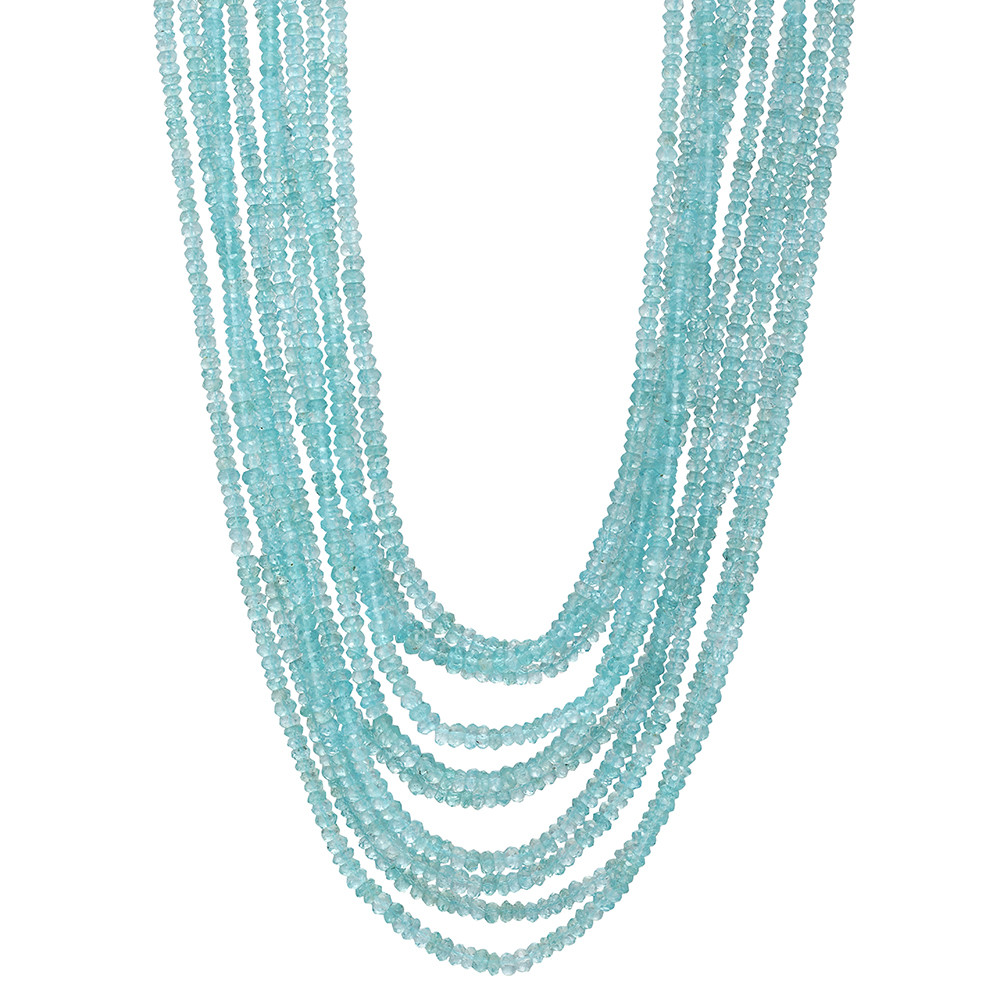 10-Strand Paraiba Tourmaline Bead Necklace