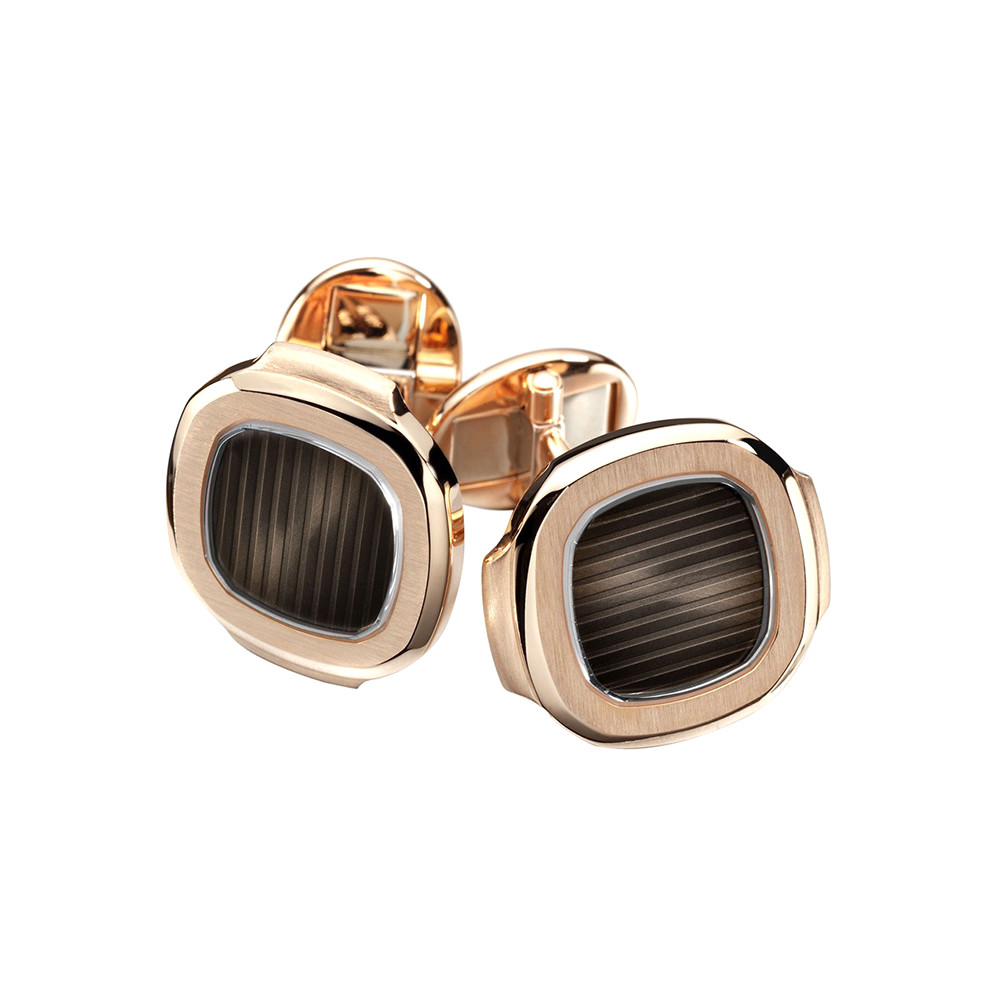 18k Rose Gold & Black-Brown Enamel Nautilus Cufflinks