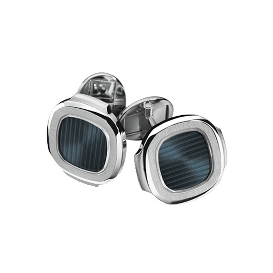 18k White Gold & Blue-Black Enamel Nautilus Cufflinks