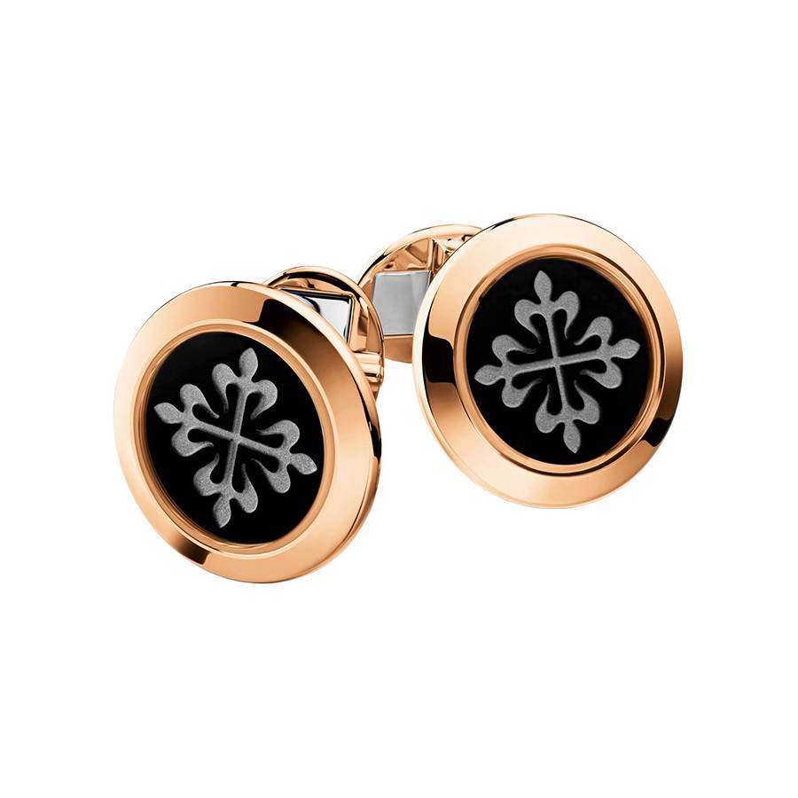 18k Rose Gold & Black Onyx Calatrava Cufflinks