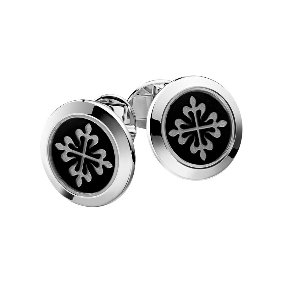 18k White Gold & Black Onyx Calatrava Cufflinks