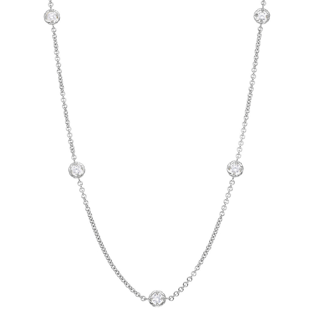 "18k White Gold & Diamond ""Stone Chain"" Necklace"
