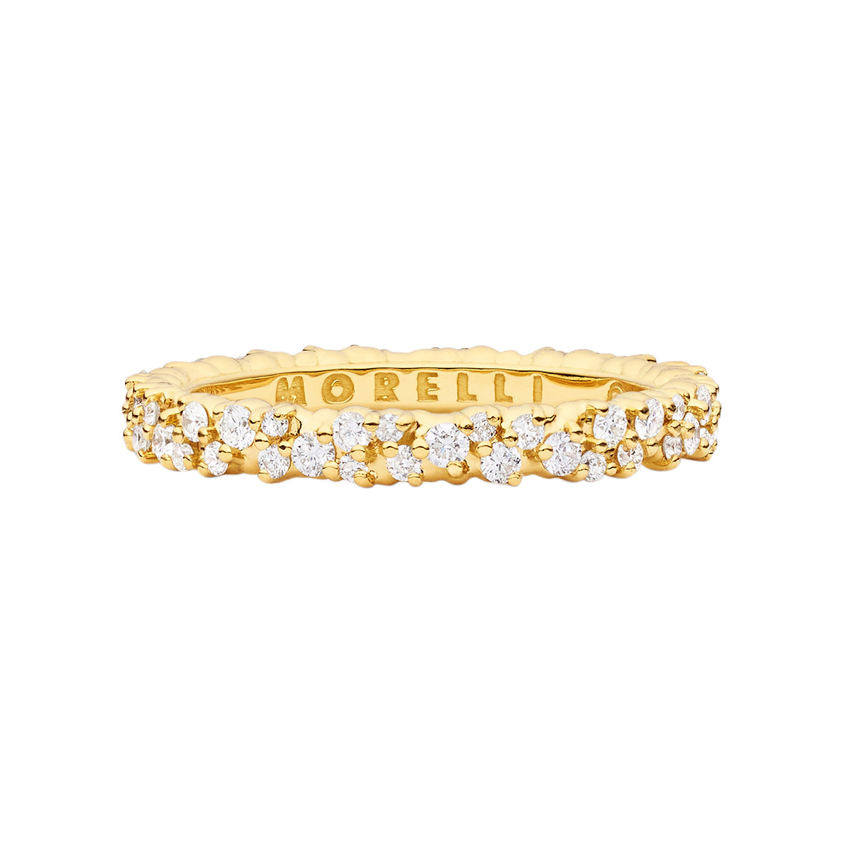 "Thin 18k Yellow Gold & Diamond ""Confetti"" Band Ring"