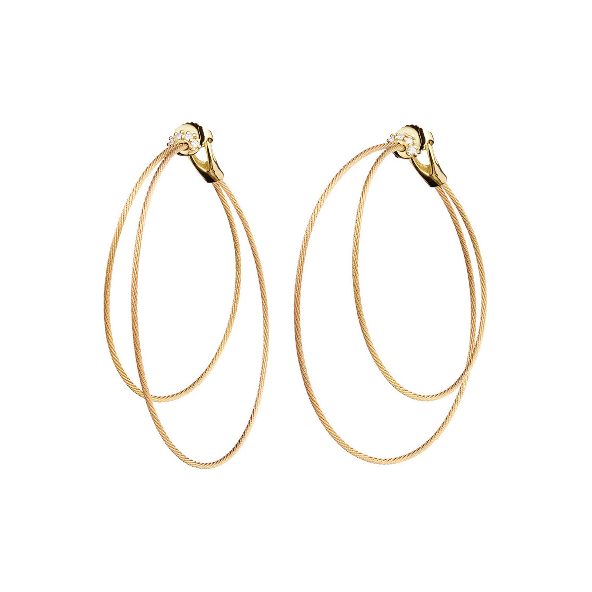 "18k Yellow Gold & Diamond Double ""Unity"" Hoop Earrings"
