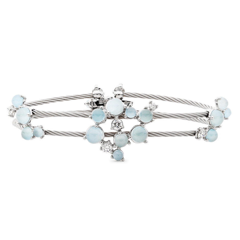 "Aquamarine & Diamond Double ""Unity"" Bracelet"