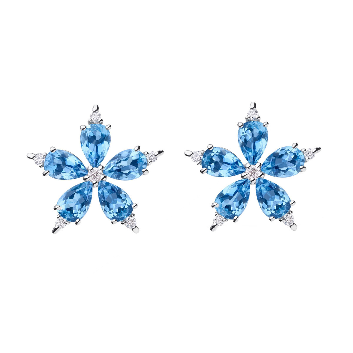 "Large Aquamarine & Diamond ""Stellanise"" Earrings"