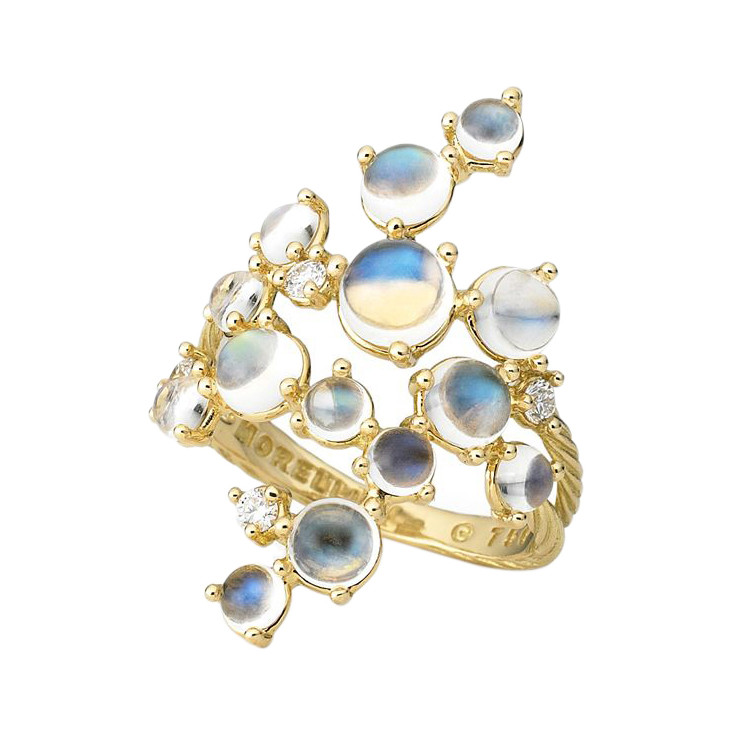 "Moonstone ""Bubble Cluster"" Ring"