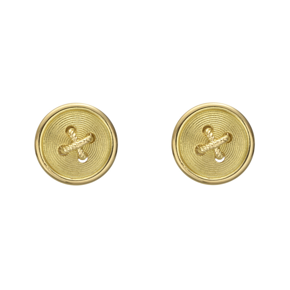 gold stud pearl white button earrings