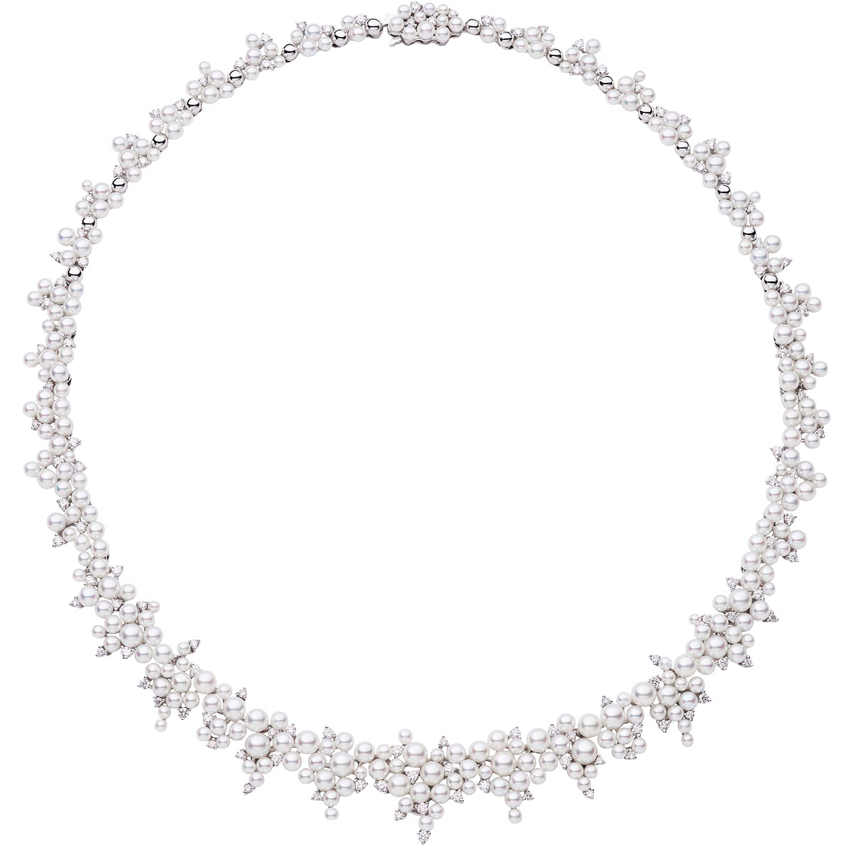 "Cascading Pearl & Diamond ""Lagrange"" Necklace"
